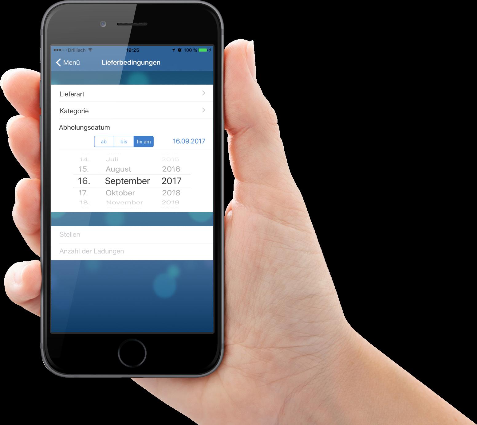 Auftragsannahme-App für Transport Software